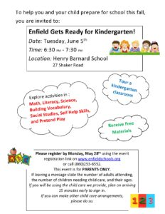 Enfield Gets Ready for Kindergarten @ Henry Barnard School