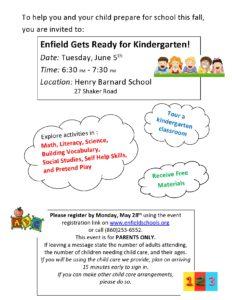 Enfield Gets Ready for Kindergarten @ Henry Barnard School