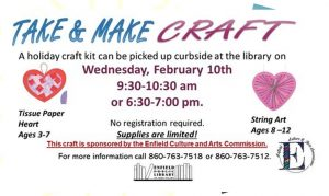 Enfield Public Library- Take & Make Valentine's Day Craft @ Enfield Public Library