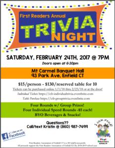 First Readers Trivia Night @ Mt. Carmel Banquet Hall